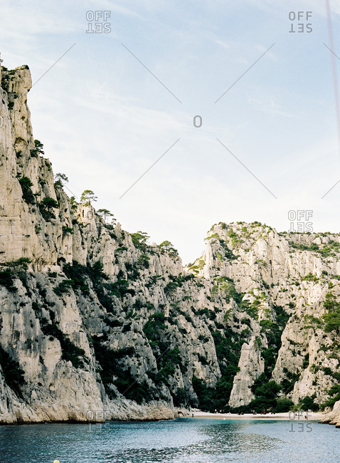 Cliffside beach at Calanque dEn Vau between Cannis and Marseille