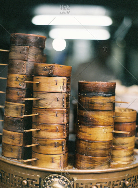 Stacks of bamboo baskets