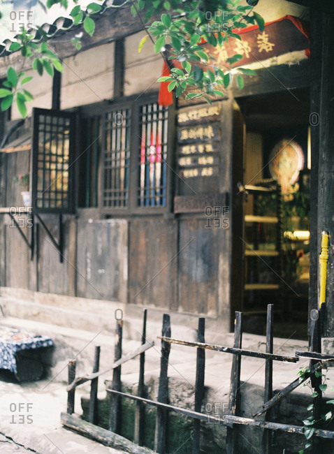 A wooden storefront in China