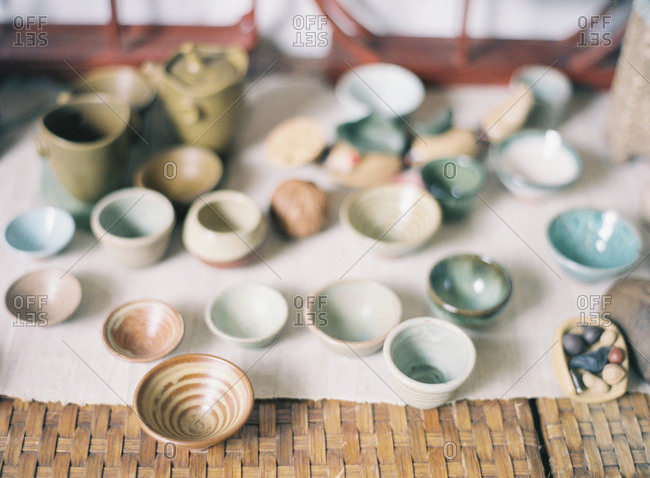 A variety of bowls on a table