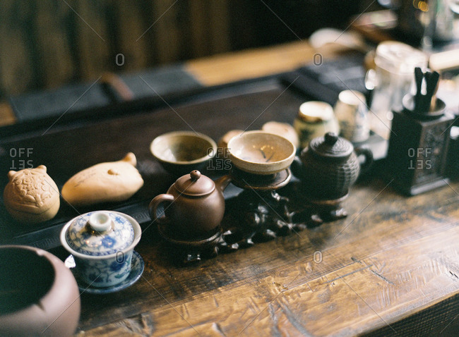 Knickknacks on a wooden table