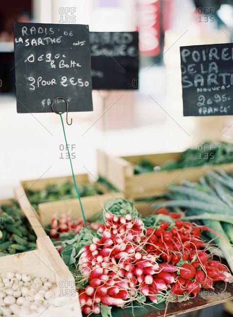 Fresh vegetables at a market stall