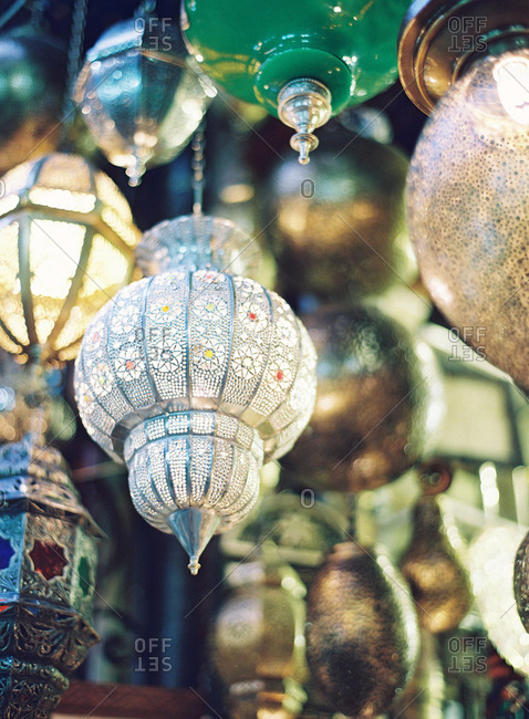 Moroccan lanterns at a street stall
