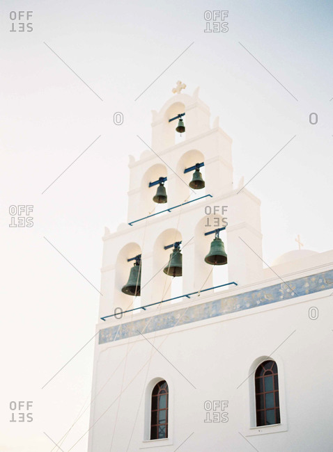 A bell tower with six bells in Santorini, Greece