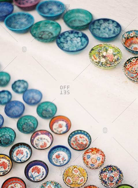 Shop display of decorative bowls