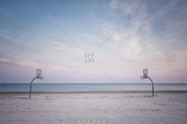 Beach with volleyball court