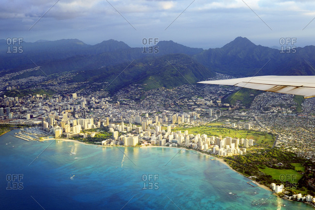Waikiki in the morning light from a plane