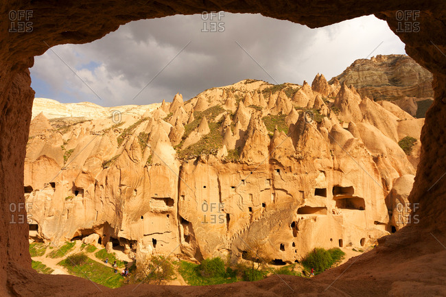 View to cliff dwellings at open-air museum