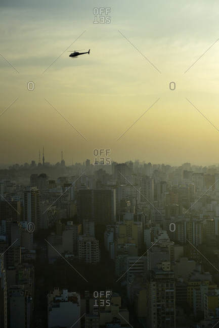 Helicopter above São Paulo in the evening