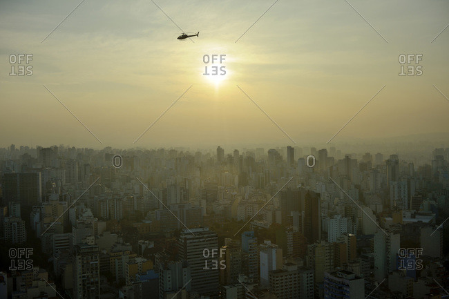 São Paulo and helicopter in the evening