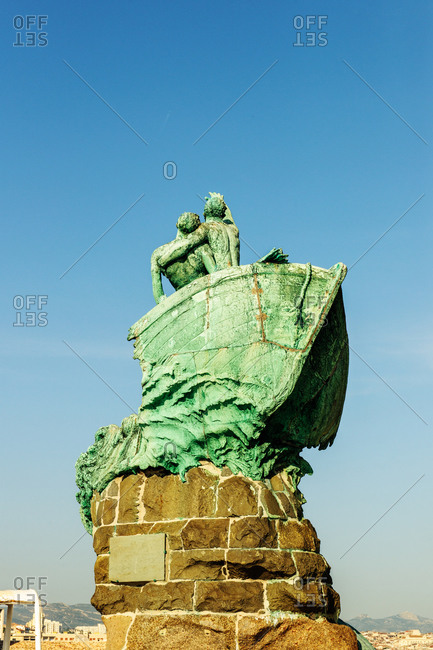 Marseille, France - July 18, 2014: Rear view of the statue of Victims Of The Sea by the sculptor Andre Verdilhan in the garden of the Palais du Pharo, on the Mediterranean Coast
