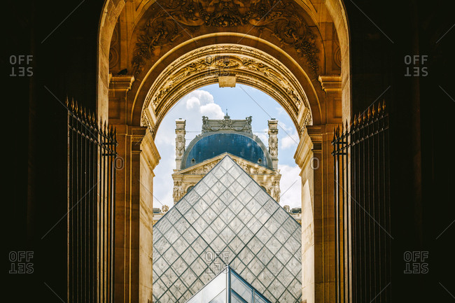 8/18/14: Louvre Pyramid at the Louvre Museum in Paris, France
