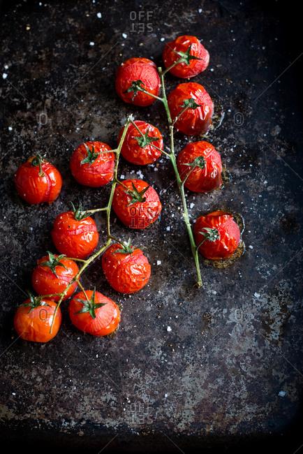 Roasted tomatoes on vine