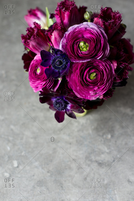Purple and red floral arrangement
