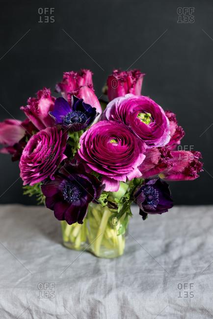 Purple and red flower arrangement