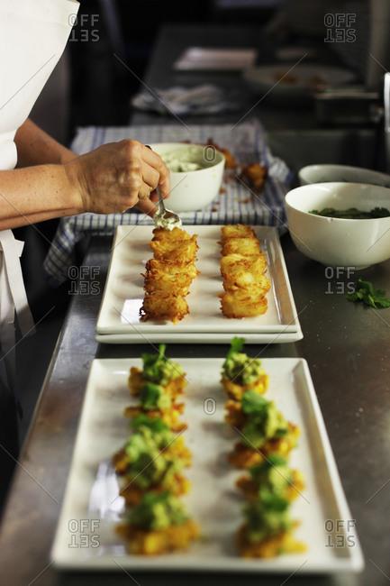 Chef preparing appetizer tray