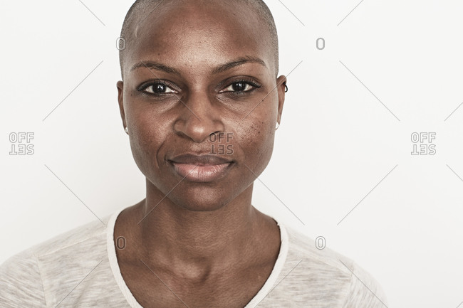 Portrait of a woman staring straight ahead
