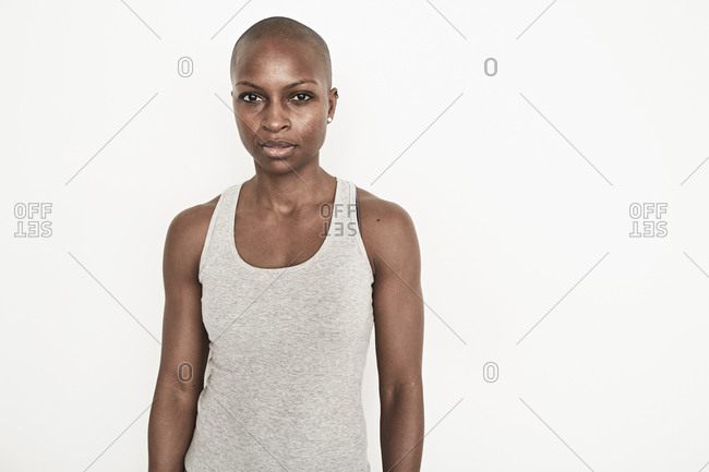 Strong woman staring straight ahead