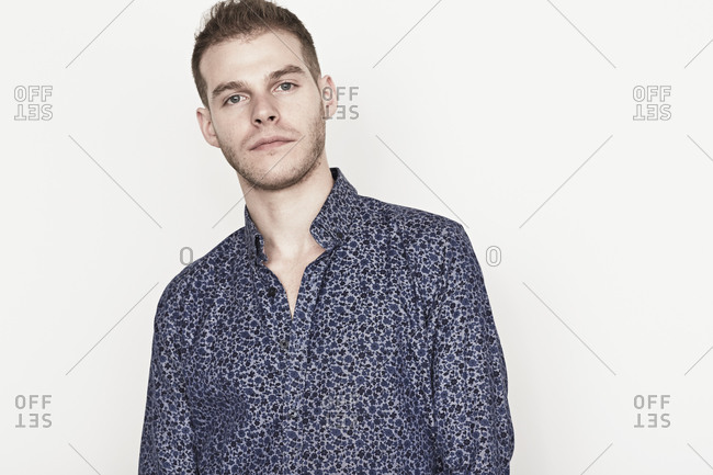 Portrait of a man in blue floral shirt