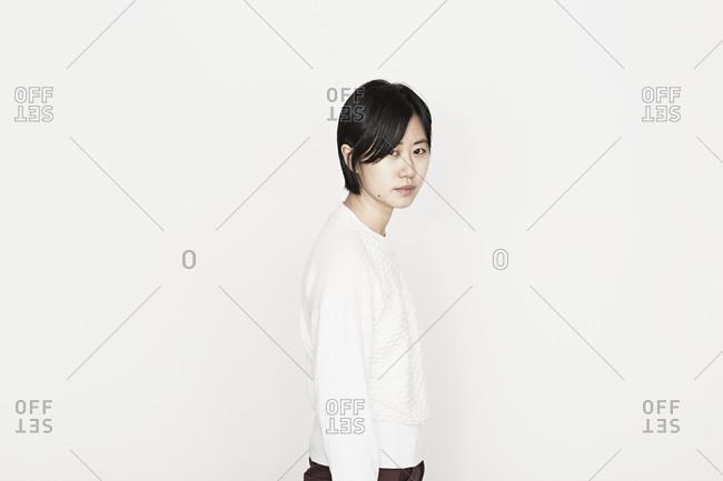 Portrait of a young sad female