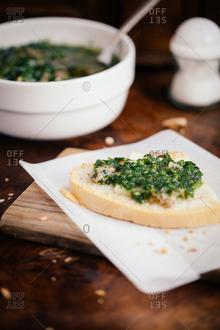 Tuscan crostini with pecorino cheese, chard and anchovy