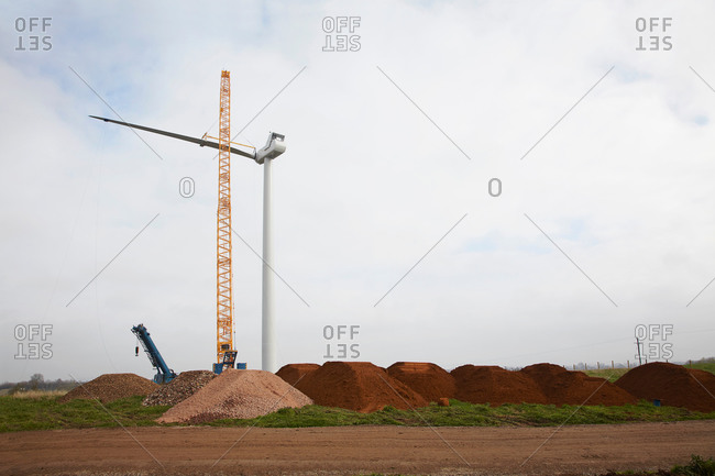 Wind turbine being erected