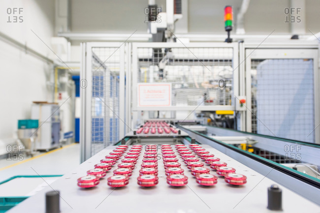 Rows of products on factory production line