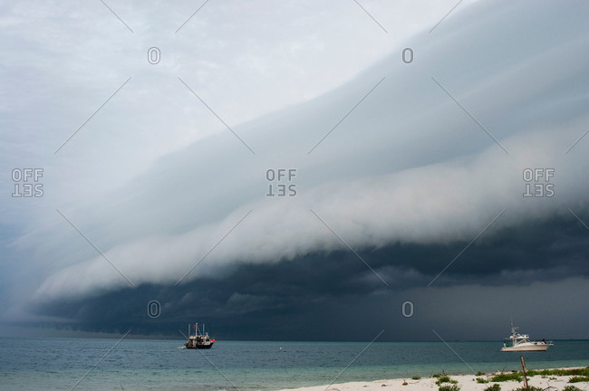 Storm clouds forming on coast of Perez Island, Gulf of Mexico