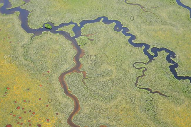 Aerial view of mangrove waterways at Sian Ka'an natural reserve, Quintana Roo, Mexico