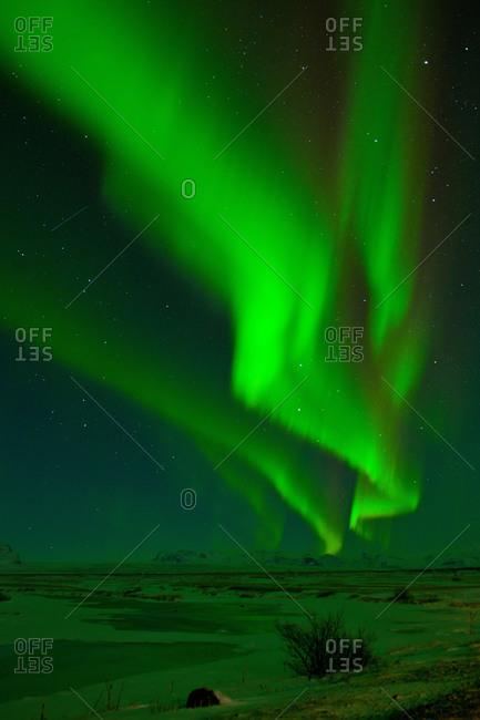 Aurora borealis at night, Skaftafell, South East Iceland