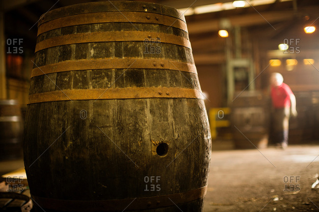 Whisky cask in cooperage - Offset