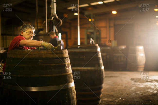 Mature man making whisky cask in cooperage