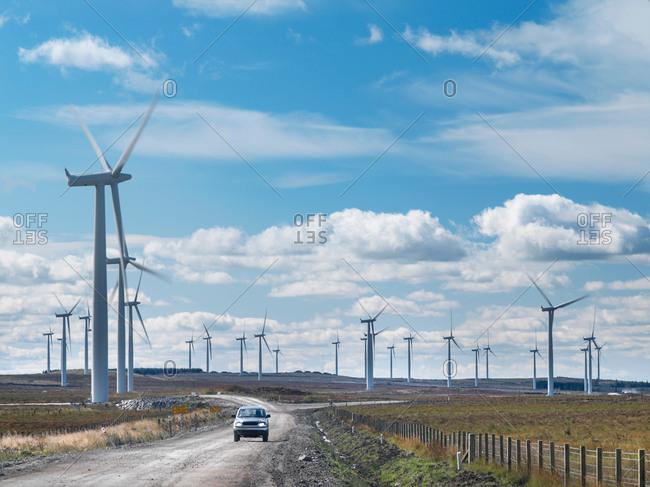 Wide angle view of windfarm