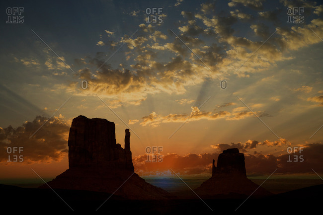 Sunset over the West Mitte and East Mitte, Monument Valley Navajo Tribal Park, Arizona, USA