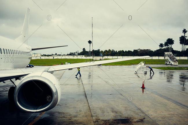Plane on tarmac in Cuba
