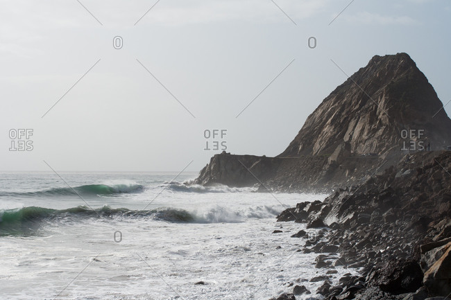 Waves crashing into California shoreline