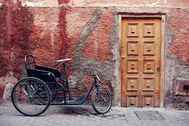 Pedicab outside building, Marrakesh, Morocco