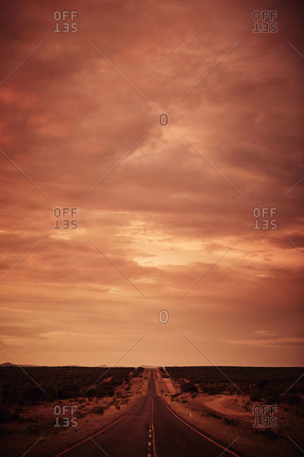 Road running through Namibian desert