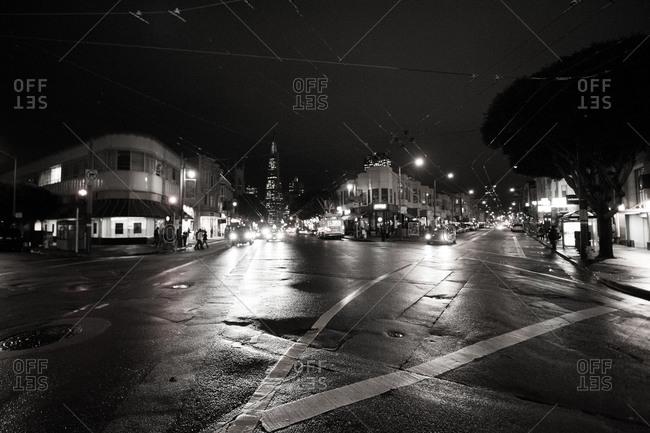 San Francisco traffic at nighttime