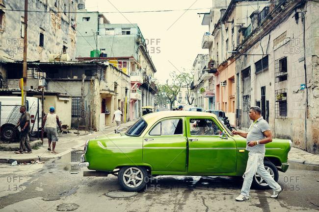Havana, Cuba - December 7, 2015: Car in a Cuban street