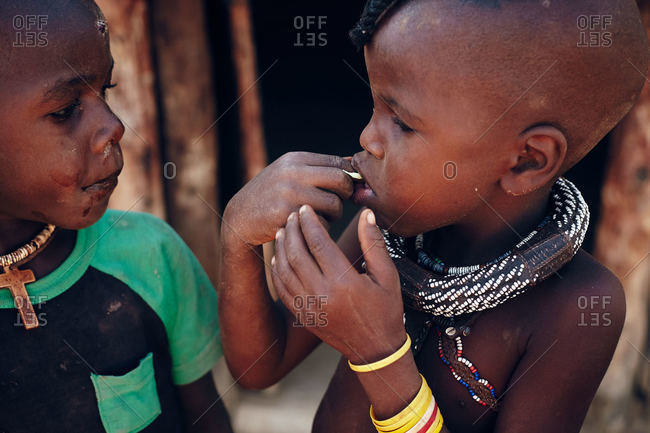 Namibia - March 17, 2016: Children of Namibian tribe