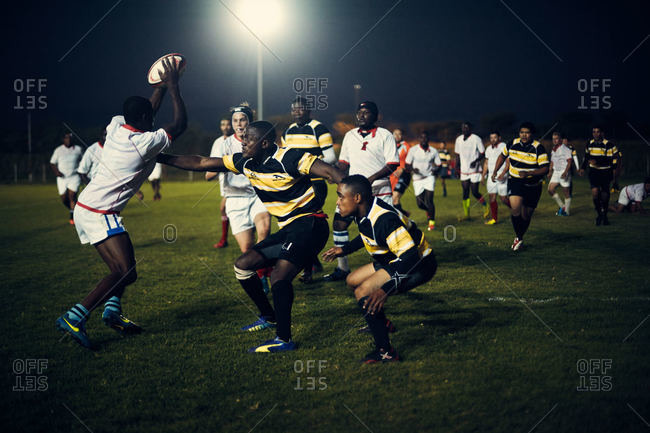 Namibia - March 4, 2016: Namibian men playing rugby