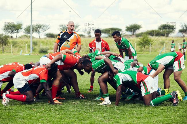 Namibia - March 5, 2016: Namibian men playing rugby game