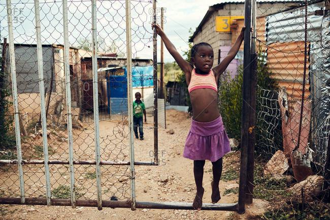 Katutura, Namibia - March 5, 2016: Kids playing in Namibian village
