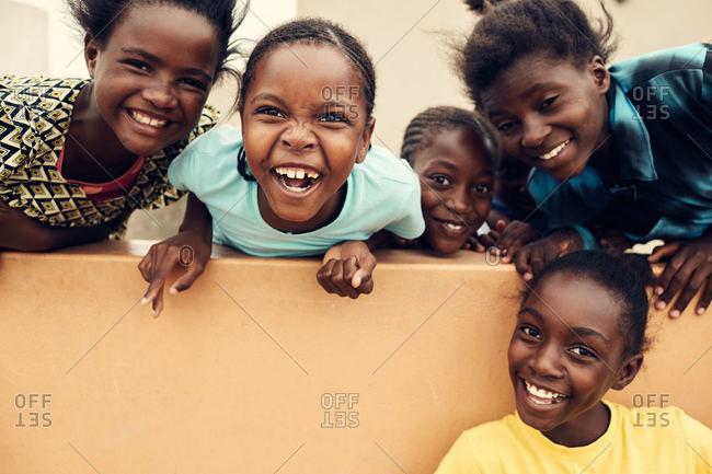 Mondesa, Namibia - March 7, 2016: Five kids in Namibian village