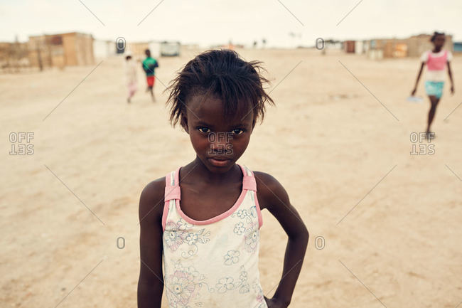 Namibia - March 7, 2016: Girl standing in Namibian street