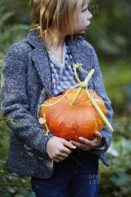Girl holding pumpkin - Offset Collection