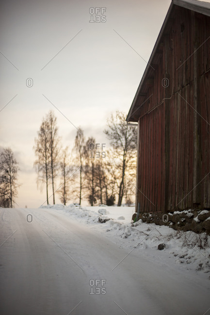 Wooden barn at winter