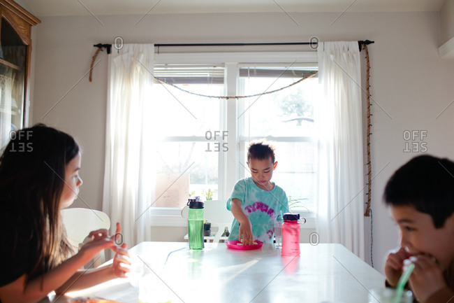 Siblings having meal together at dining table
