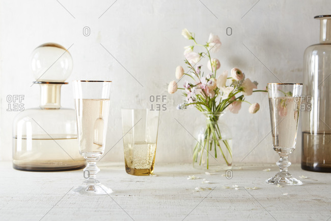 Still life with flowers and drinks